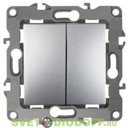 12-1104-03 ЭРА Выключатель двойной, 10АХ-250В, Эра12, алюминий