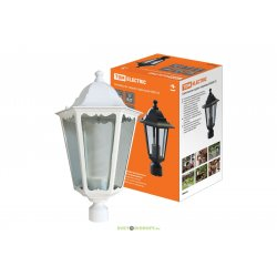 Светильник садово-парковый шестигранник 60Вт Е27 белый венчающий