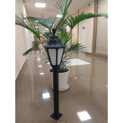 Светильник садовый опора 600мм металл, светильник RUT (Италия) черный/молочный 1.05м