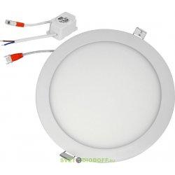 Ультратонкая встраиваемая панель круглая Ecola LED downlight 18W 220V 4200K 225x20