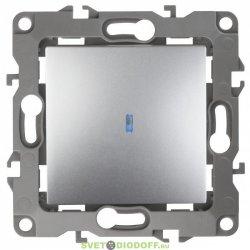 12-1102-03 ЭРА Выключатель с подсветкой, 10АХ-250В, Эра12, алюминий