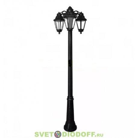 Столб фонарный уличный Fumagalli Ricu Bisso/Anna 3L DN черный/матовый 2,13м 3xE27 LED-FIL с лампами 800Lm, 4000К