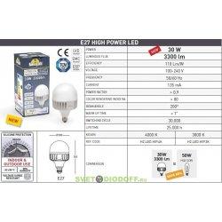 Лампа светодиодная для уличных светильников 220v/30w LED-HIP, E27, 3300Lm, 4000К (Фумагалли Италия)