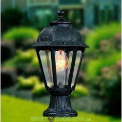 Уличный садовый светильник Fumagalli Mikrolot/Saba Черный, прозрачный 1xE27 LED-FIL с лампой 800Lm, 2700К