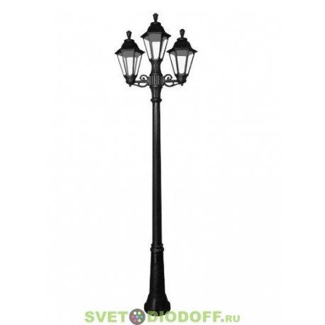Столб фонарный уличный GIGI bisso/ RUT 2L черный, прозрачный 2,25м 2xE27 LED-FIL с лампами 800Lm, 2700К