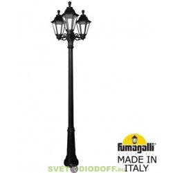 Столб фонарный уличный GIGI bisso/ RUT 3L черный, прозрачный 2,25м 3xE27 LED-FIL с лампами 800Lm, 2700К