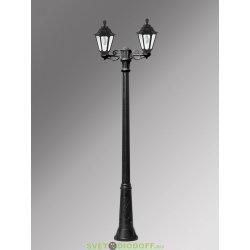 Столб фонарный уличный Fumagalli Ricu Bisso/Rut 2L черный, прозрачный 2,5м 2xE27 LED-FIL с лампами 800Lm, 2700К