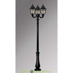 Столб фонарный уличный Fumagalli Nebo Ofir/RUT 3L черный, прозрачный 3,0м 3xE27 LED-FIL с лампами 800Lm, 2700К