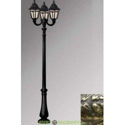 Столб фонарный уличный Fumagalli Nebo Ofir/RUT 3L античная бронза, прозрачный 3,0м 3xE27 LED-FIL с лампами 800Lm, 2700К