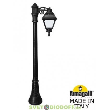 Уличный фонарь столб Fumagalli Artu Bisso/Cefa черный/прозрачный 1,865м 1xE27 LED-FIL с лампой 800Lm, 2700К