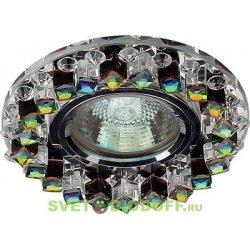 Светильник под светодиодную лампу и с торцевой светодиодной подсветкой, хром зеркальный + кристаллы прозрачные 3000К