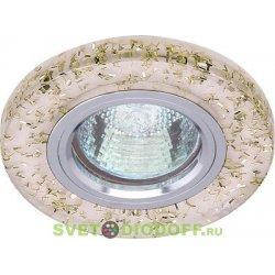 Светильник под светодиодную лампу и с торцевой светодиодной подсветкой 15SMD 3Вт, хром + белый с блесками 3000К