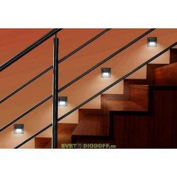 Светильник светодиодный встраиваемый для стен и ниш LED-03W, теплый белый свет, матовое серебро