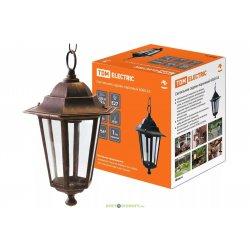 Светильник 6060-15 садово-парковый шестигранник, 60Вт, подвес, бронза TDM