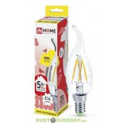 Лампа светодиодная LED-СВЕЧА НА ВЕТРУ-deco 5Вт 230В Е14 3000К 450Лм прозрачная IN HOME
