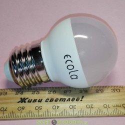 Лампа светодиодная Ecola globe  LED 7,0W G45 220V E27 4000K шар (композит) 75x45