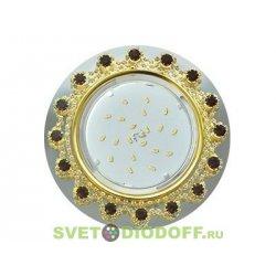Ecola GX53 H4 Glass Круг с прозр.и янтарн. стразами Корона (оправа золото)/фон зерк../центр.часть золото