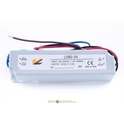 Блок питания для ленты IP 67 пластик 60 W, 24V