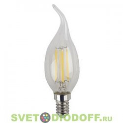 "Лампа светодиодная ""Свеча на ветру"" прозрачная ЭРА F-LED BXS-5w-827-E14 2700К"