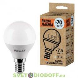 Лампа светодиодная LED P45 WOLTA 25S45GL 7.5Вт E14-P 4000K