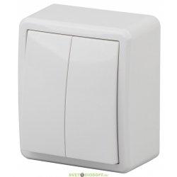 Выключатель двойной IP54, 10АХ-250В, ОУ, Эра Эксперт, белый 11-1404-01 ЭРА