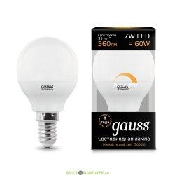 Диммируемая светодиодная лампа Gauss LED Globe-dim E14 7W 3000К