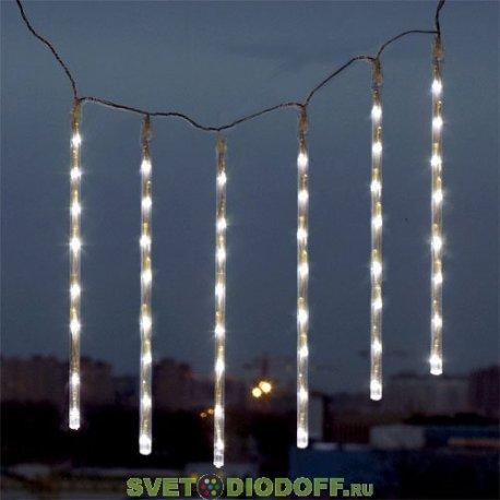 """Гирлянда """"Каскад"""" 48 белых светодиодов в прозрачных трубках с контроллером 8 режимов"""