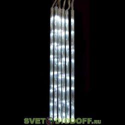 """Гирлянда """"Каскад"""" 72 белых светодиода в прозрачных трубках с контроллером 8 режимов"""