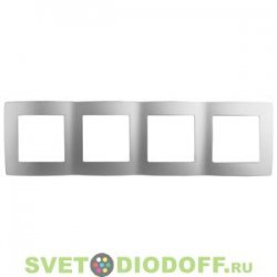 12-5004-03 ЭРА Рамка на 4 поста, Эра12, алюминий