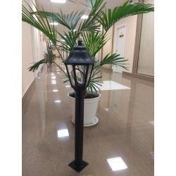 Светильник садовый опора 600мм металл, светильник ANNA (Италия) черный/прозрачный 0,9м