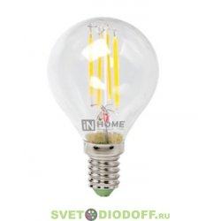 Лампа светодиодная LED-ШАР-deco 7Вт 230В Е14 3000К 630Лм прозрачная IN HOME