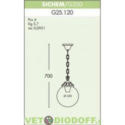 Уличный подвесной светильник Шар Fumagalli Sichem/GLOBE 250 античная бронза, прозрачный