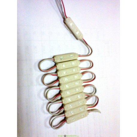 Светодиодный модуль (кластер) 3528/2 0,3W 12V 120гр., IP65 Красный 620-630nm