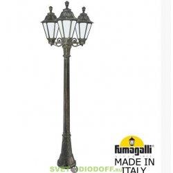 Столб фонарный уличный GIGI bisso/ RUT 3L античная бронза, молочный 2,25м 3xE27 LED-FIL с лампами 800Lm, 2700К
