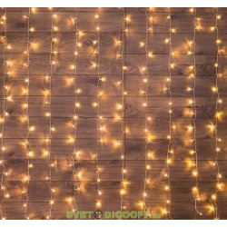 """Гирлянда """"Светодиодный Дождь"""" 1,5х1,5м, свечение с динамикой, прозрачный провод, 230 В, диоды БЕЛЫЕ ТЁПЛЫЙ NEON-NIGHT"""