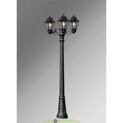 Столб фонарный уличный Fumagalli Gigi Bisso/Anna 3L черный, прозрачный 2,09м без ламп