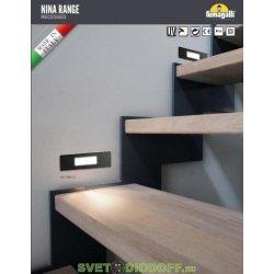 Светильник светодиодный настенный (подсветка лестницы) Фумагалли NINA 150 чёрный, опал, 1xR7S LED с лампой 4W, 3000К тёплый