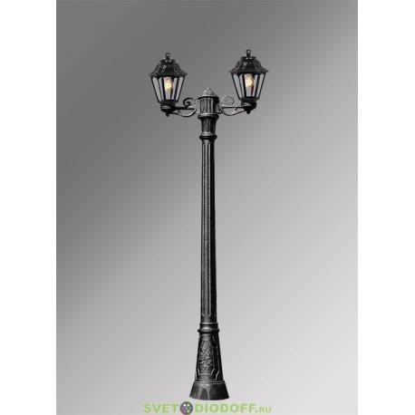 Столб фонарный садовый уличный Fumagalli Artu Bisso/Anna 2L черный, прозрачный 1,85м 2xE27 LED-FIL с лампами 800Lm, 4000К