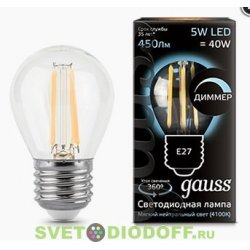 Лампа светодиодная диммируемая Gauss LED Filament Globe dimmable E27 5W 4100K