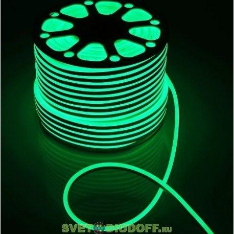 Гибкий неон SMD2835, 120 LED DC12V, IP65, 9.6W/m, 10lm/m, Green, PVC зеленый 16х8мм