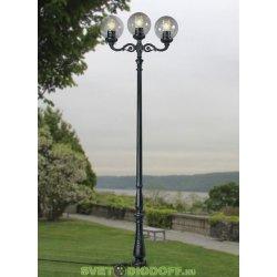 Уличный фонарь столб HOREB ADAM/GLOBE 400 3L черный/прозрачный рассеиватель 4.20м