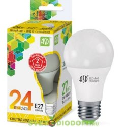 Лампа светодиодная LED-A60-standard 24Вт 230В Е27 3000К 2160Лм ASD