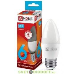 Лампа светодиодная LED-СВЕЧА-VC 6Вт 230В Е27 3000К 480Лм IN HOME