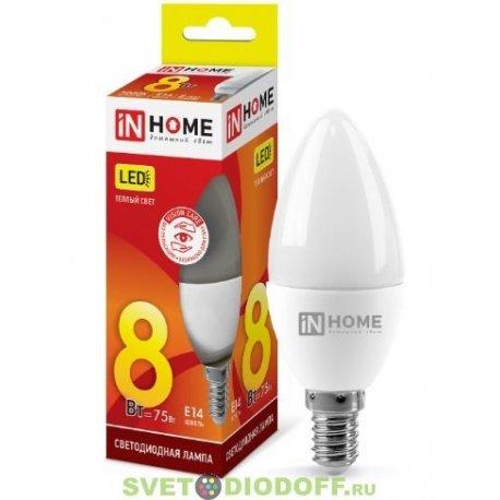 Лампа светодиодная LED-СВЕЧА-VC 8Вт 230В Е14 3000К 600Лм IN HOME