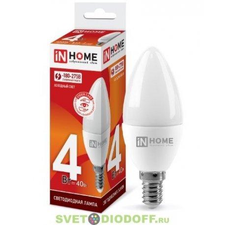 Лампа светодиодная LED-СВЕЧА-VC 4Вт 230В Е14 6500К 360Лм IN HOME