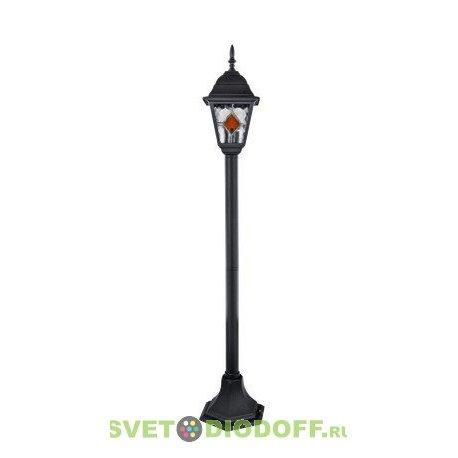 Столб садовый Витраж (стекло фактурное с цветными вставками), черный Е27, 1,06м