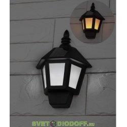 Фасадный светильник Фонарь, 2 режима (огонь, холодный свет), на солн. бат., 40LED, 7lm ERAFS08-36