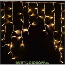 Гирлянда Айсикл (бахрома) светодиодная, уличная 4,8 х 0,6 м, белый провод, 230 В, диоды ТЕПЛЫЙ БЕЛЫЙ, 152 LED