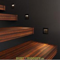 Уличный светодиодный светильник Подсветка для лестниц и дорожек IP65, 3Вт, 210Лм, 4000К черный