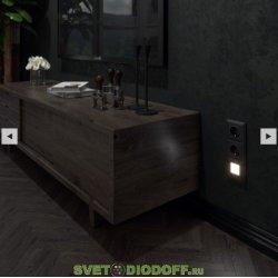 Встраиваемая LED подсветка ступеней, стен 4000К, 1,5Вт черный